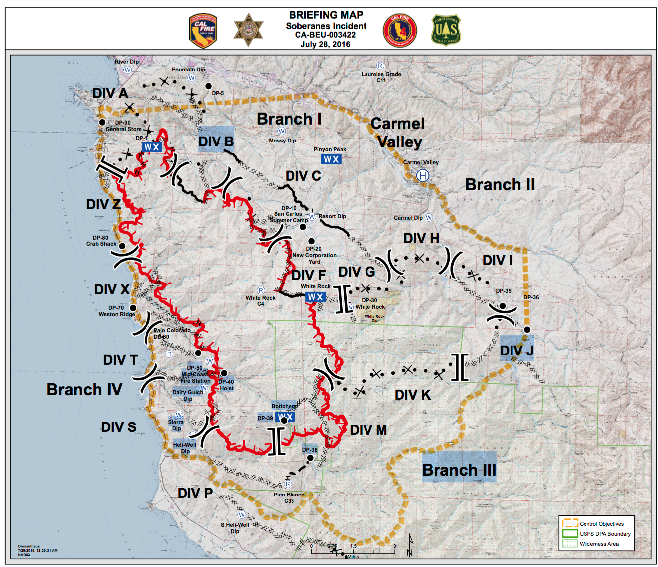 briefing map soberanes fire july  .  soberness fire maps  big sur california