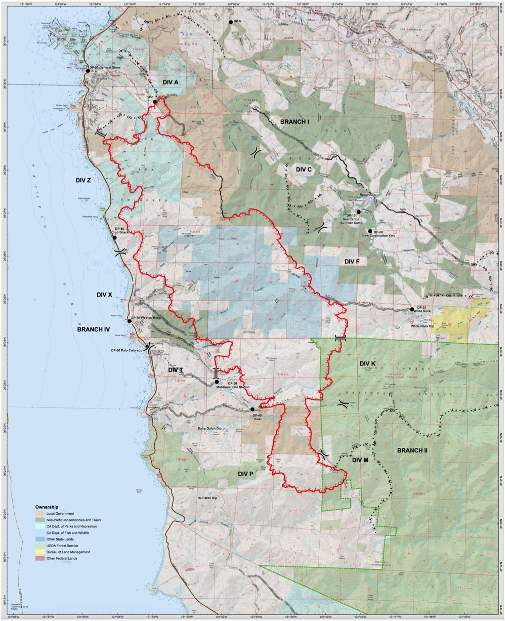 Fire Map With Dozer Lines Completed And Proposed Big Sur California