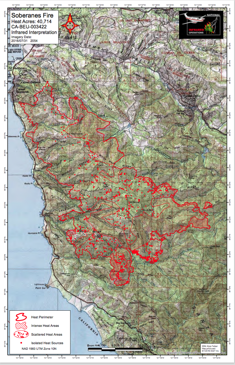 Cal Fire Soberanes Fire Maps in PDF | Big Sur California
