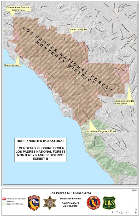 Los Padres National Forest Closure extends south to Nacimiento