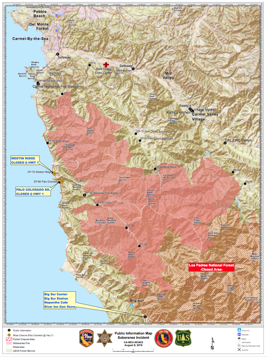 Soberanes Fire Map Updates Last updated: 8/8/16 @ 7:30 AM | Big
