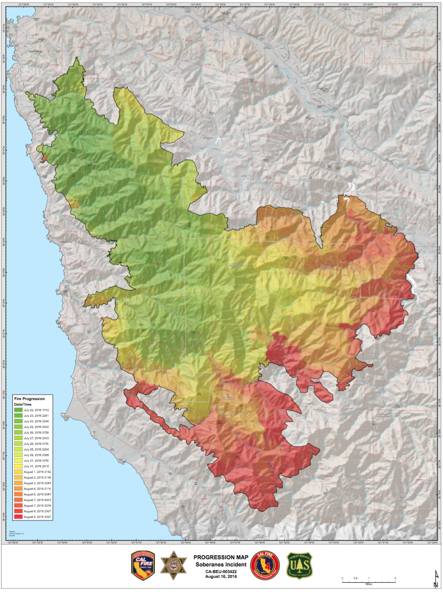 Fire Progression Map 8/10/16 and links to all Cal Fire map ... on pg&e fire map, northern california fires map, california active fires map, county fire map, san jose fire map,