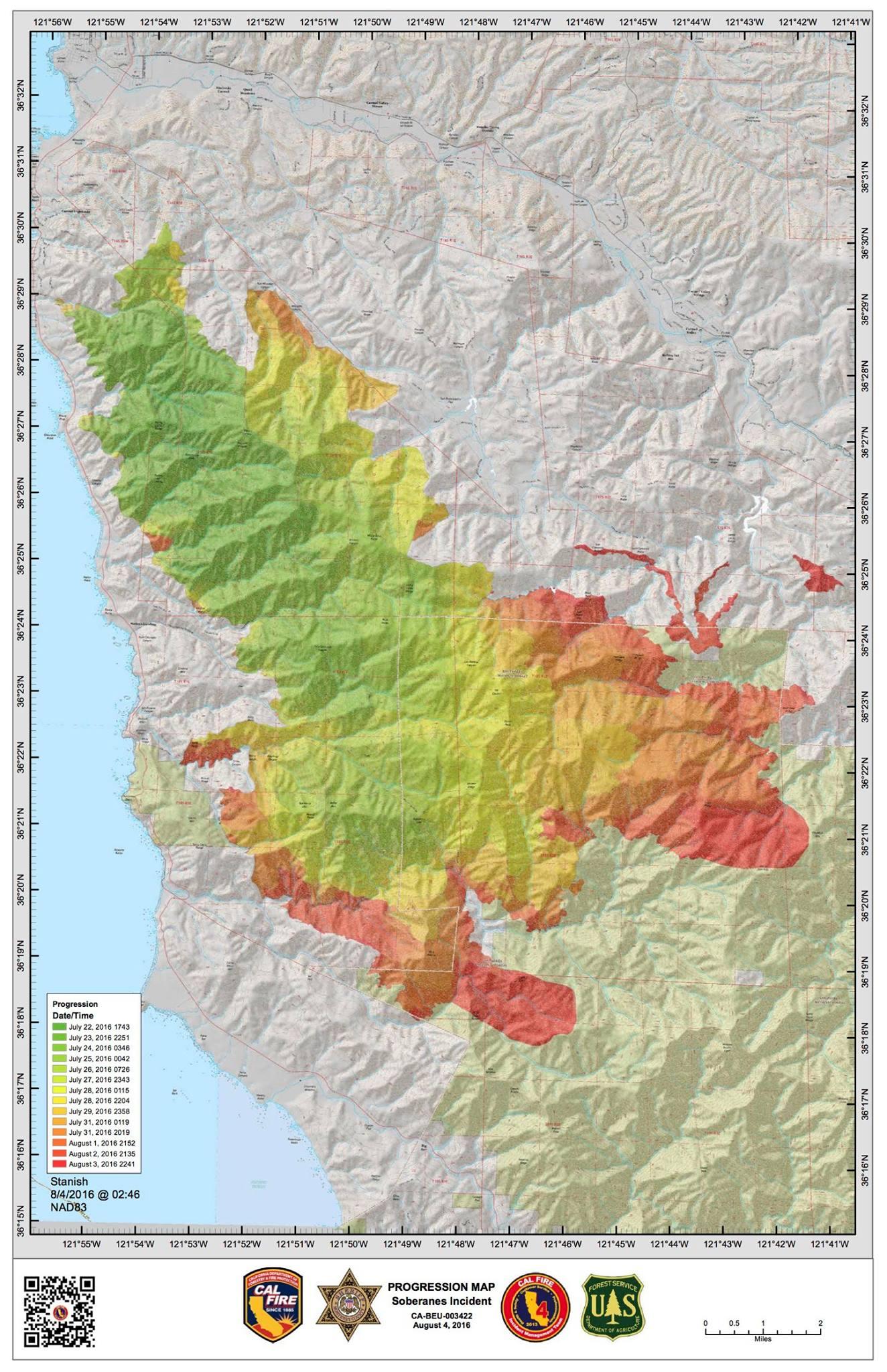 Soberanes Fire Progression Map | Big Sur California