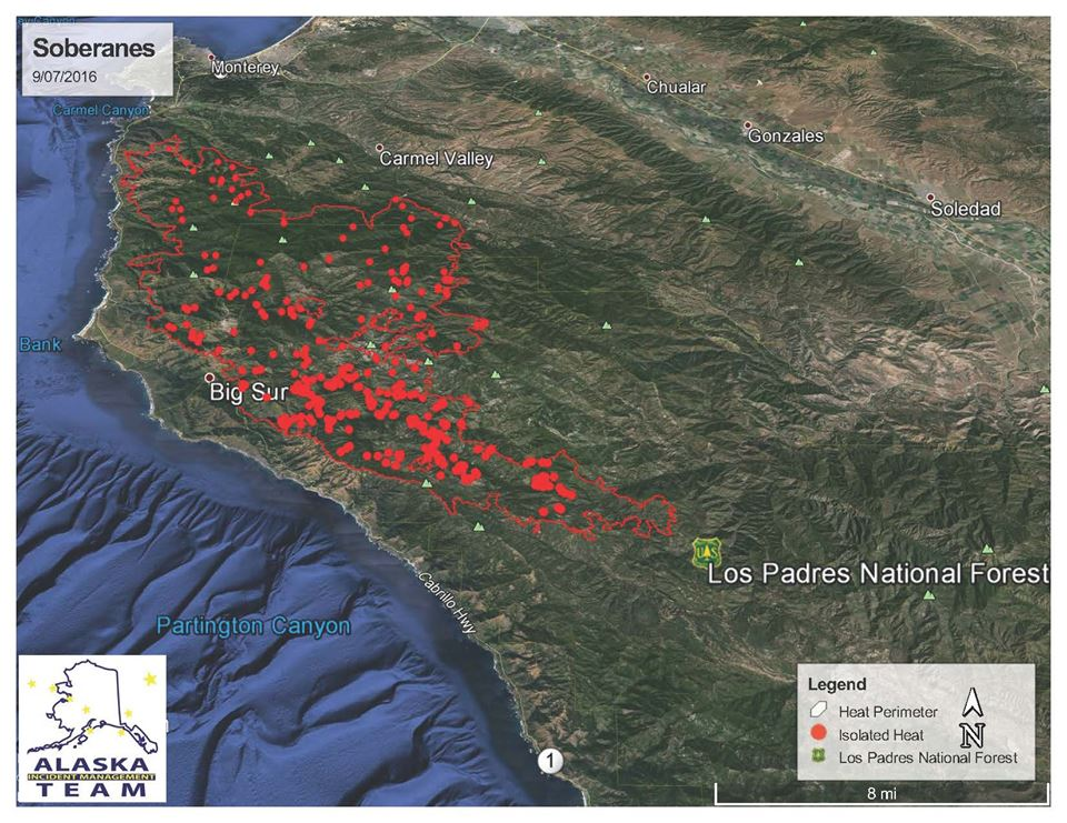 U.S. Forest Service Heat Map 9/7/16 | Big Sur California