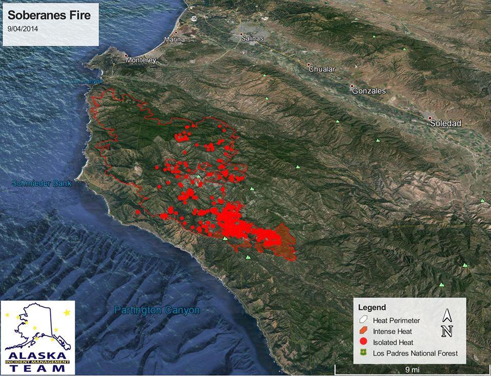 Soberanes Fire Heat Map Update Big Sur California - Heat map us with alaska