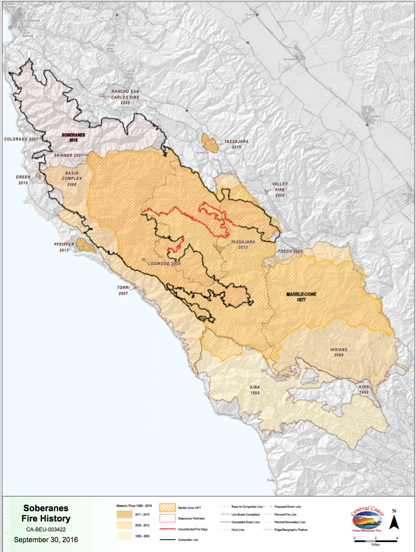 BIG SUR FIRE HISTORY MAP 19972016 Big Sur California