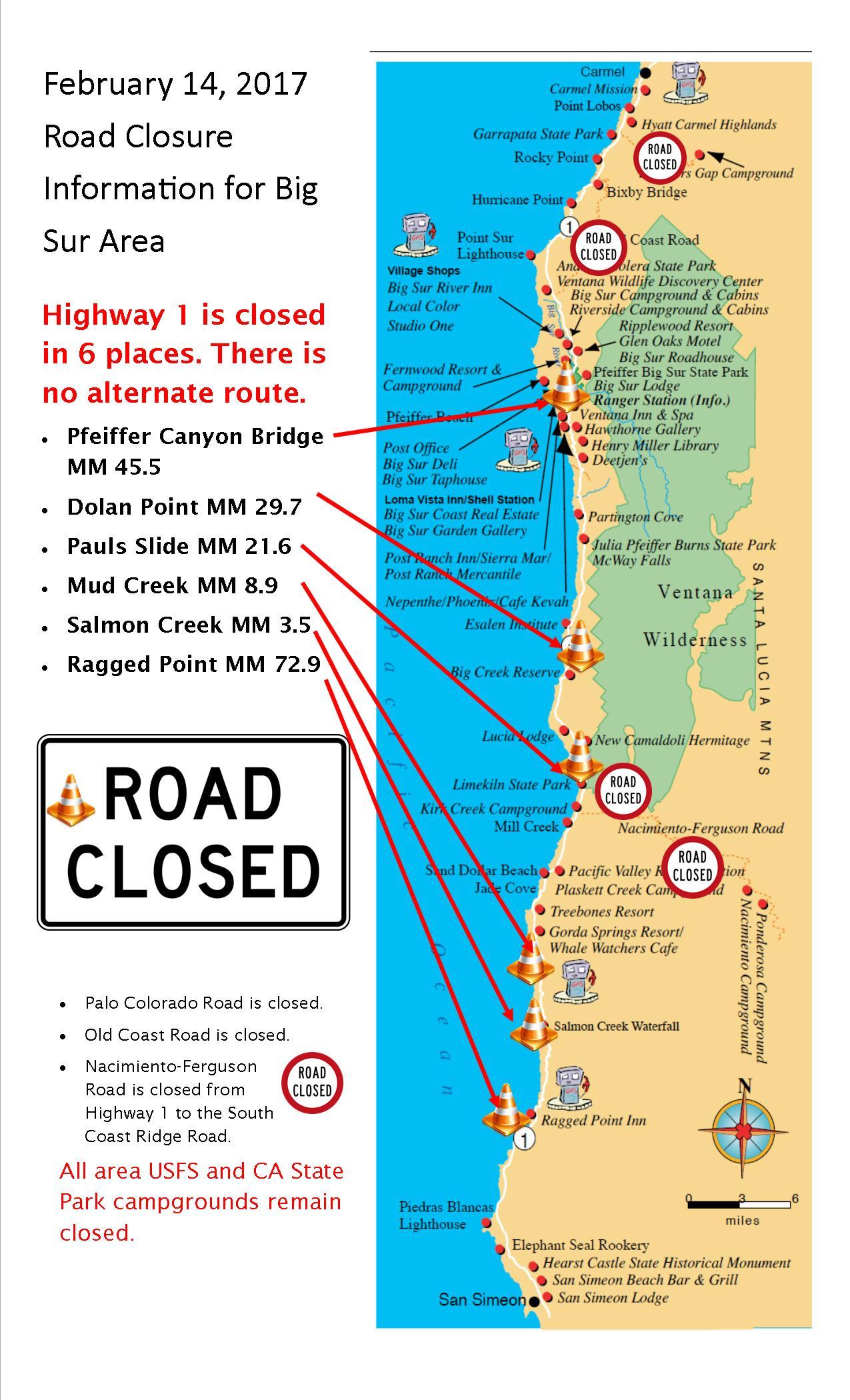 Visual Guide to Road Closures in Big Sur | Big Sur California