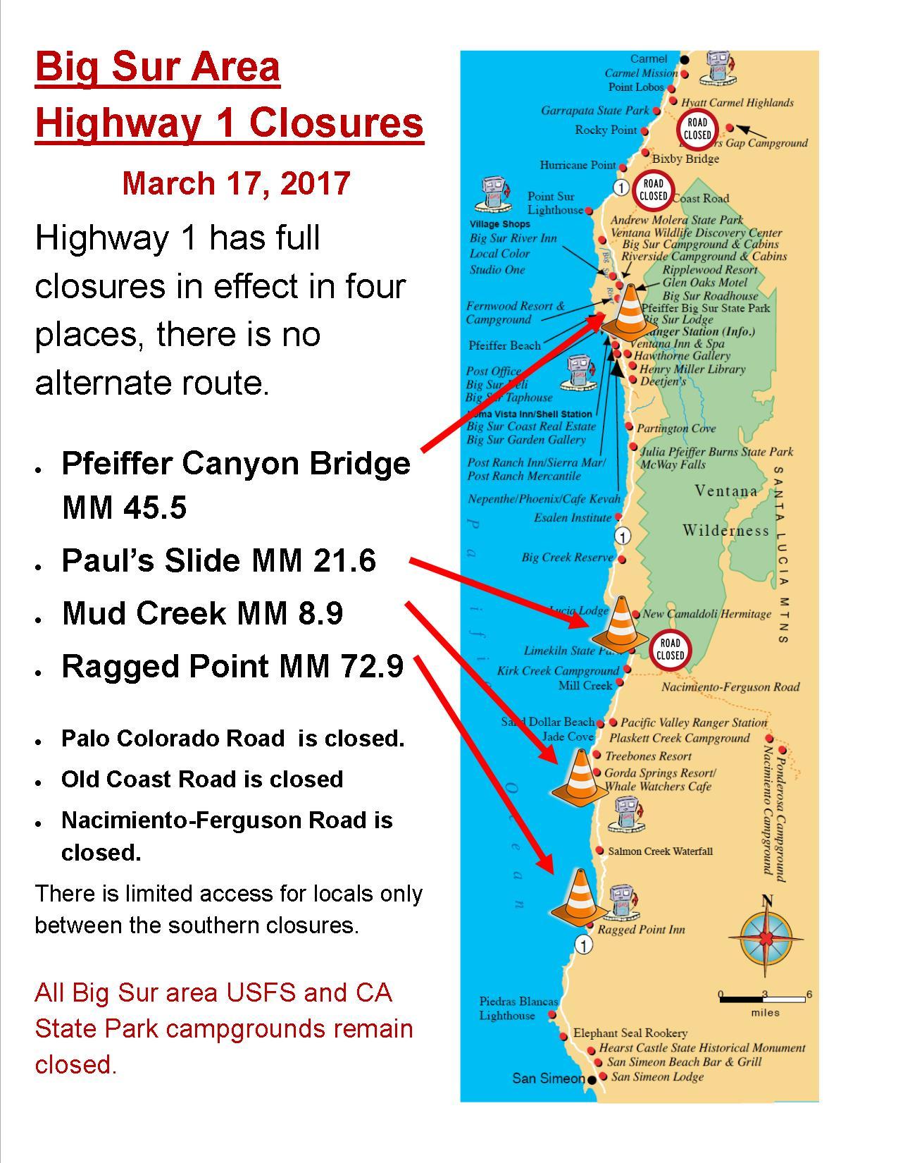 Current Big Sur Highway 1 Closures | Big Sur California on