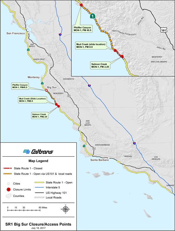 Caltrans Updated State Route 1 Closure Map Big Sur California