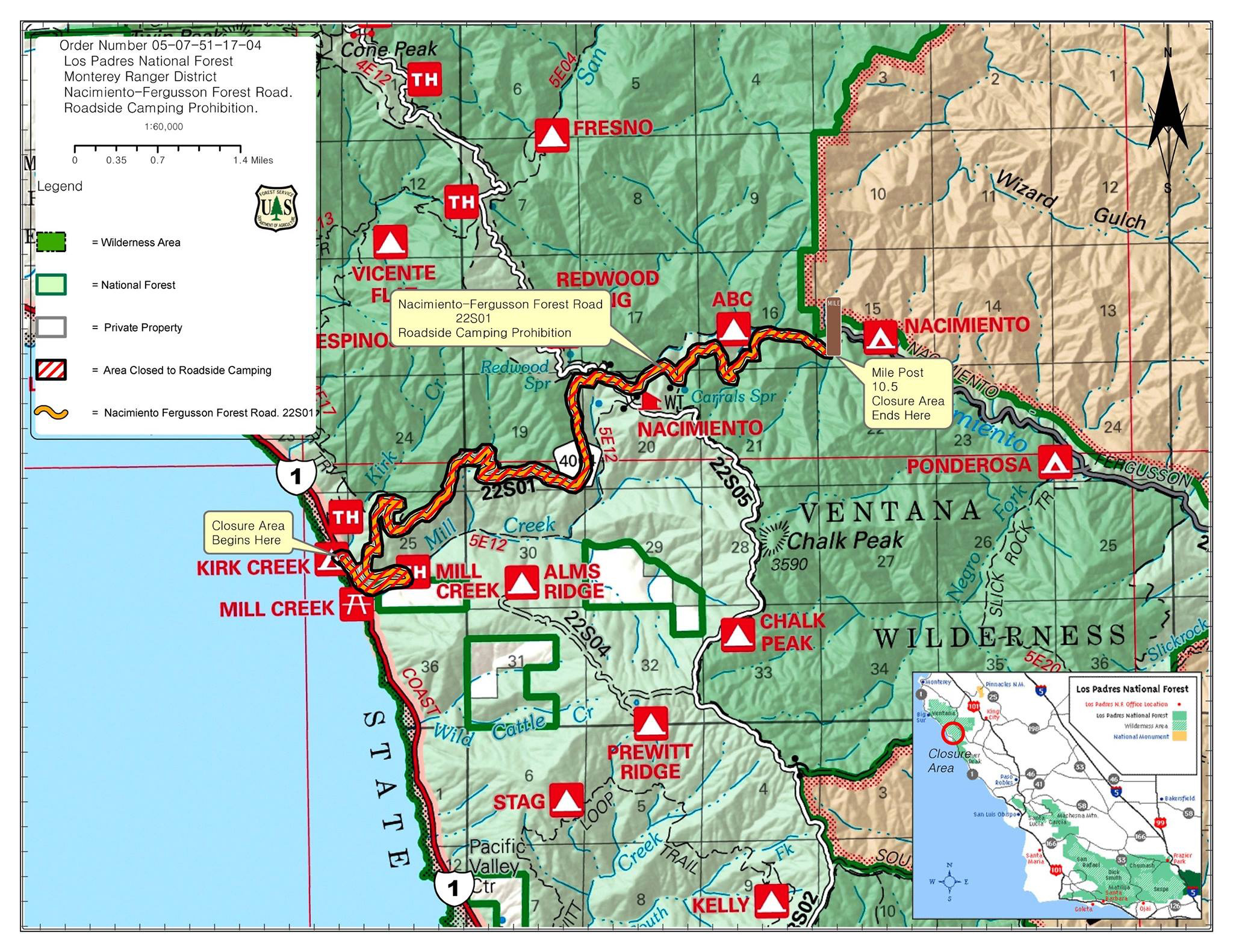 Los Padres Prohibits Camping Along NacimientoFergusson Road with